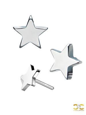 Star Threaded / Push-In Stud Earring, Titanium