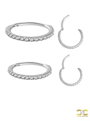 18k White Gold Swarovski® Zirconia Pave Ring Clicker, 18g, Medium