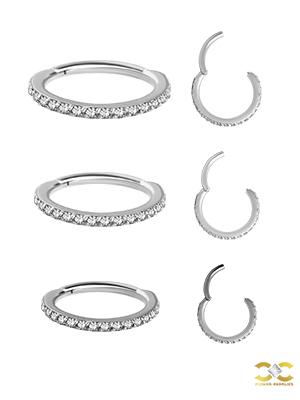 18k White Gold Swarovski® Zirconia Pave Ring Clicker, 16g, Small