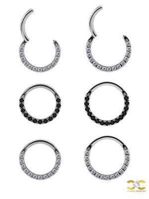 Pave Daith Clicker Earring, 18k White Gold, Medium