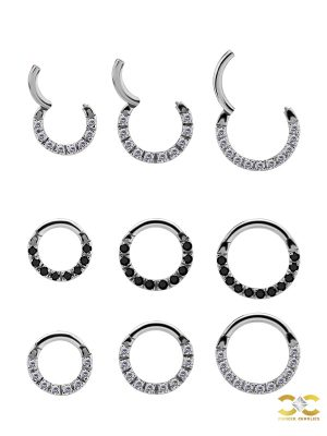 Pave Daith Clicker Earring, 18k White Gold, Small