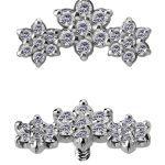 3-Flower Garland Threaded Stud Earring, 18k White Gold