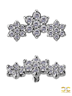 3-Flower Garland Threaded Stud Earring, 18k White Gold
