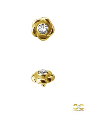 Flower Gem Threaded Stud Earring, 18k Yellow Gold
