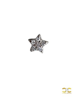 Pave Star Push-In Stud Earring, 14k White Gold