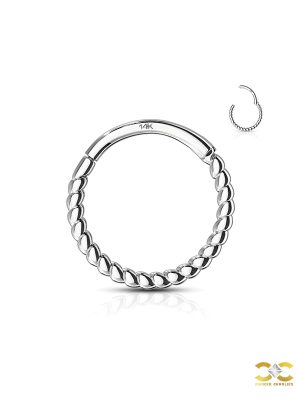 Rope Clicker Hoop Earring, 14k White Gold, 6-8-10mm