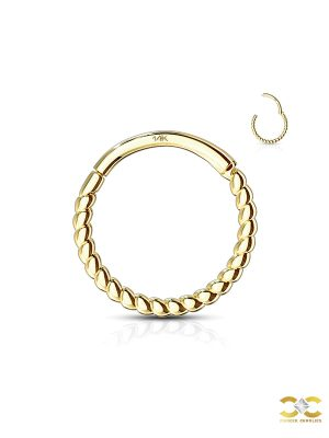 Rope Clicker Hoop Earring, 14k Yellow Gold, 6-8-10mm