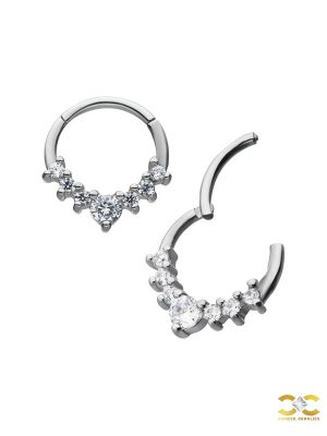 7-Gem Daith Clicker Earring, Steel
