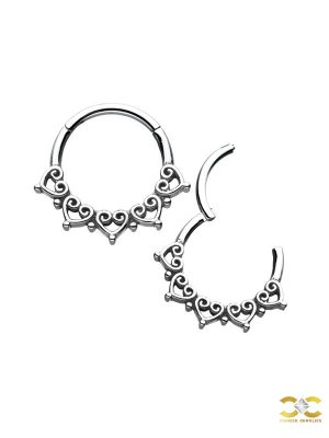 Mini Love Hearts Daith Clicker, Steel
