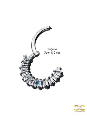 Baguette Gem Daith Clicker Earring, Steel