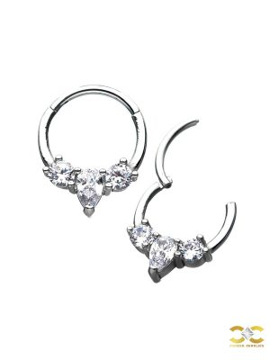 3-Gem Daith Clicker Earring, Steel