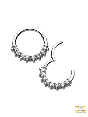 8-Gem Daith Clicker Earring, Steel