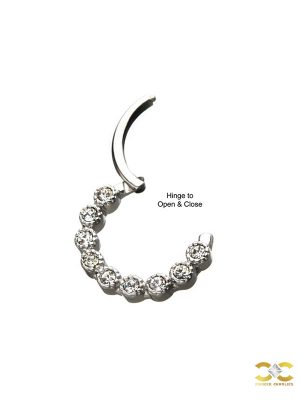 9-Gem Scalloped Bezel Daith Clicker Earring, Steel