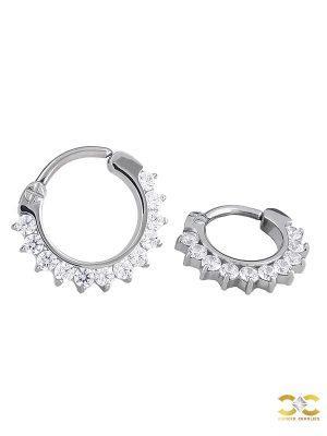 12-Gem Daith Clicker Earring, Titanium, Oval, Curved Bar