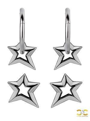 Hollow Star Charm for Clicker Hoop, Titanium