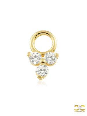 Trinity Charm for Clicker Hoop, 9k Yellow Gold