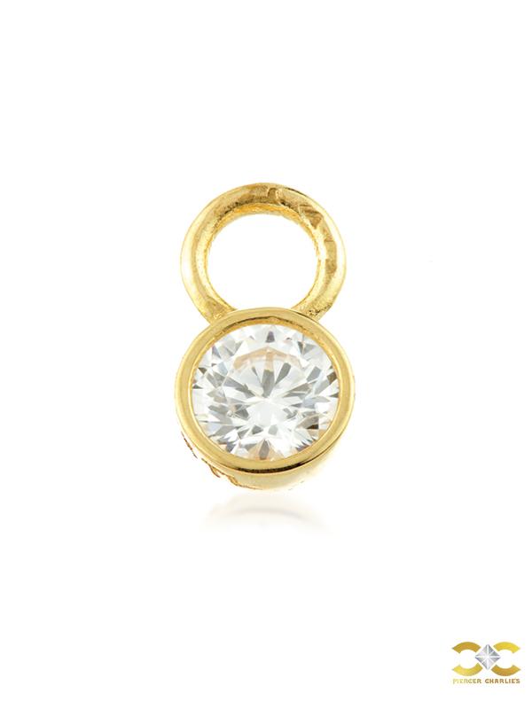 Bezel Gem Charm for Clicker Hoop, 9k Yellow Gold
