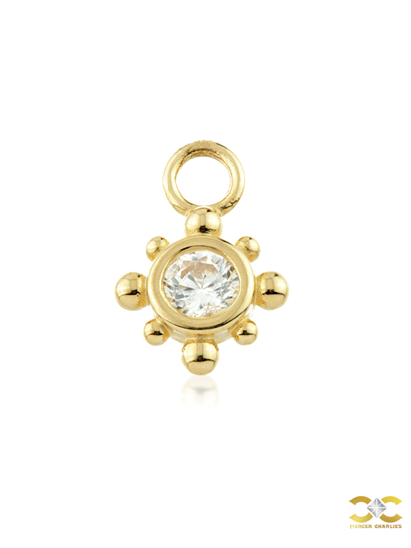 Beaded Gem Charm for Clicker Hoop, 9k Yellow Gold