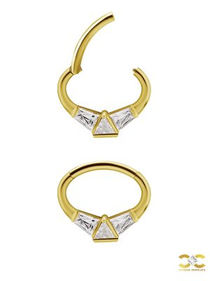 Geometry Daith Clicker Earring, 18k Yellow Gold, 8mm Oval