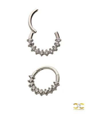 10-Gem Daith Clicker Earring, Steel