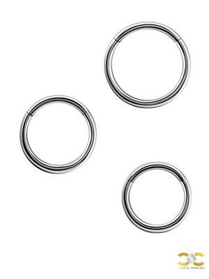 Gold Clicker Hoop, 16g, Medium, 18k White Gold