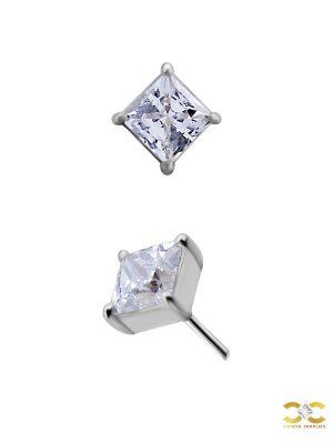 Princess Cut Push-In Stud Earring, 2mm, 18k White Gold
