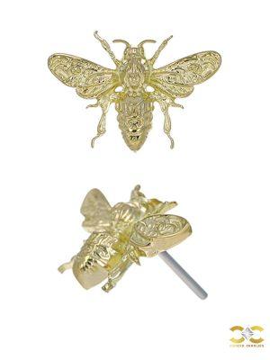 Anatometal Bee Push-In Stud Earring, 18k Yellow Gold