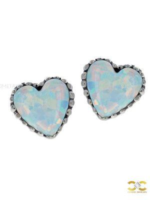 Anatometal Created Opal Heart Threaded Stud Earring, 18k Gold