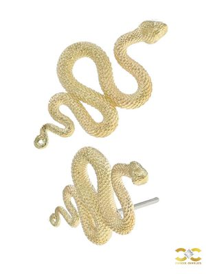 Anatometal Snake Push-In Stud Earring, 18k Yellow Gold