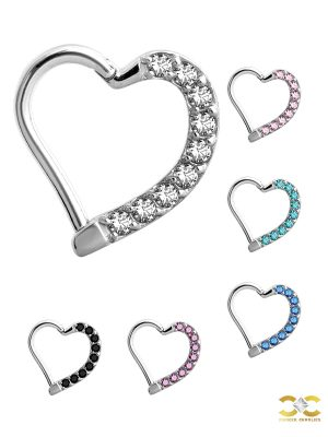 Pave Heart Daith Clicker Earring, Steel