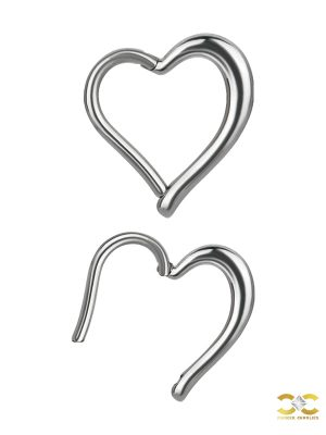 Heart Daith Clicker Earring, Steel