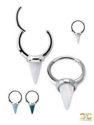 Created Opal Spiked Clicker Earring, Long, Steel