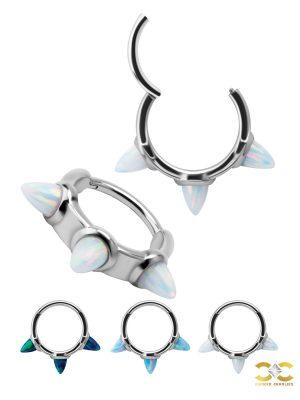 Created Opal Triple Medium Spiked Clicker Earring, Steel