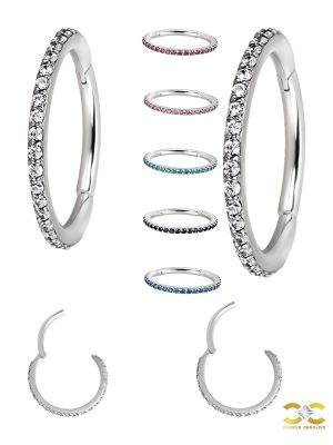 Pave Ring Eternity Clicker Earring, Conch Ring, 16g, Titanium
