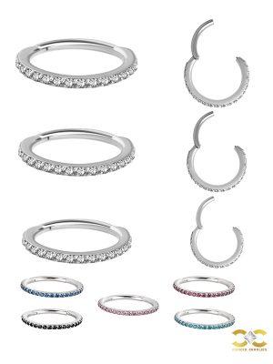 Pave Ring Eternity Clicker Earring, 16g, Medium, Titanium