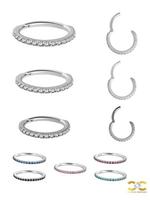 Pave Ring Eternity Clicker Earring, 16g, Small, Titanium