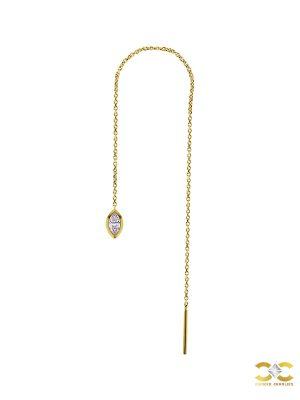 Marquise Gem Threader Chain Earring, 18k Yellow Gold
