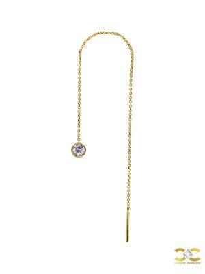 Bezel Gem Threader Chain Earring, 18k Yellow Gold