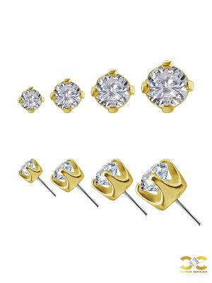 Prong Set Diamond Push-In Stud Earring, 18k Yellow Gold