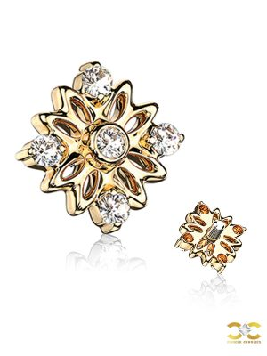 5 Gem Accented Flower Threaded Stud Earring, 14k Yellow Gold