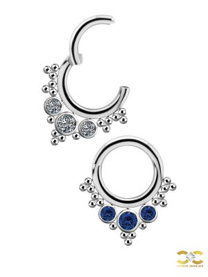 3-Gem Beaded Daith Clicker Earring, Titanium, 8mm