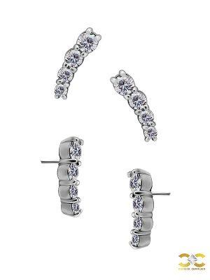 4-Gem Prium Push-In Stud Earring, CoCr NF