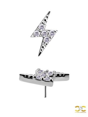 Mini Pave Lightning Bolt Push-In Stud Earring, CoCr NF