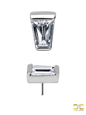 Tapered Baguette Gem Push-In Stud Earring, CoCr NF