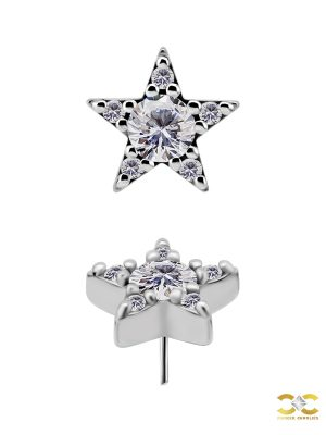 Pave Star Push-In Stud Earring, 6.5mm, CoCr NF