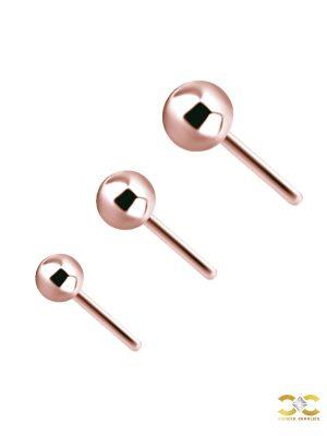 Ball Push-in Stud Earring, 18k Rose Gold