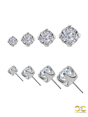 Prong Set Diamond Push-In Stud Earring, 18k White Gold