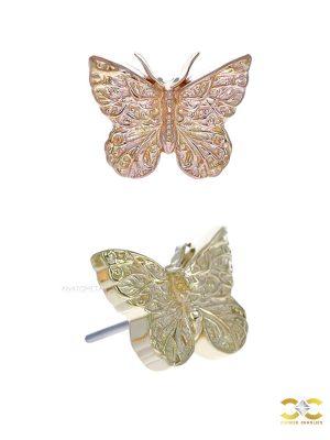 Anatometal Butterfly Push-In Stud Earring, 18k Gold