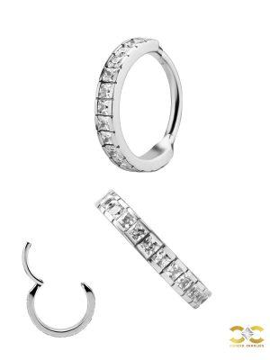 Square Gem Eternity Clicker Earring, Steel