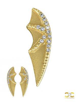 BVLA Bat Wing Double-Threaded Stud Earring, 14k Yellow Gold